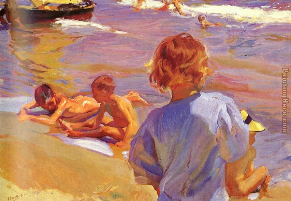 Joaquin Sorolla y Bastida Children on the Beach Valencia Art Painting